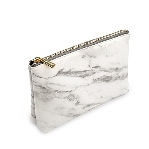 """METAN Marble White Cosmetic Bag with Gold Zipper, Fashion Handbags for Makeup Storage, Change Holder, Coin Wallets (8.36"""" x 2.38"""" x 5.3"""")"""