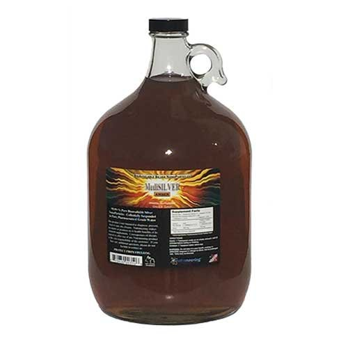 Broc en verre - 1 Gallon US - MediSILVER ambre (argent colloïdal traditionnel de 20 ppm)