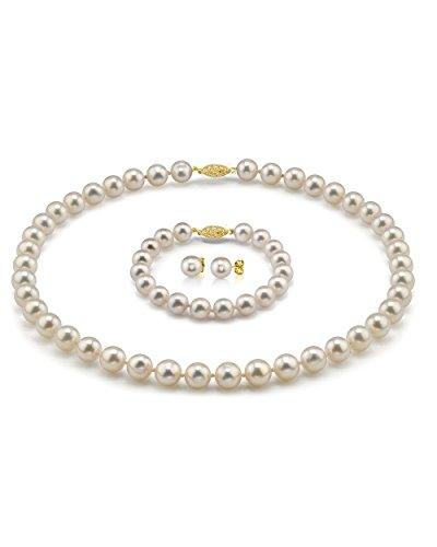 THE PEARL SOURCE 14K Gold 7-7.5mm Hanadama Quality Round White Akoya Cultured Pearl Necklace, Bracelet Earrings Set in 18 Princess Length for Women