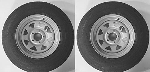 2-Pack Radial Trailer Tire w/Silver Rim ST205/75R14 LRC 5 Lug/4.5'' C Spoke Wheel by eCustomRim (Image #3)