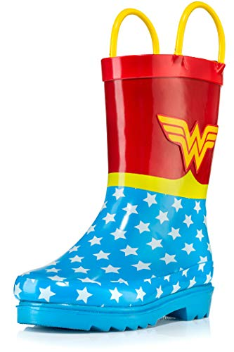 DC Comics Girls' Wonder Woman Printed Waterproof Easy-On Rubber Rain Boots - Size 9 Toddler -