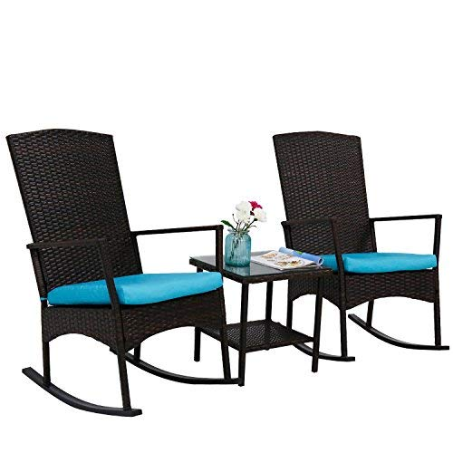 Rocking Chair Set - Kinbor 3PCS Outdoor Rattan Rocker Chair Side Tea Table Set Garden Rocking Wicker Lounge w/Removable Blue Cushion