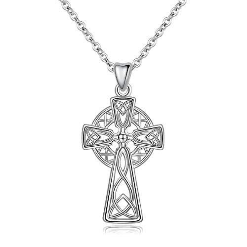 (INFUSEU Celtic Knot Trinity Filigree Cross Pendant Necklace Sterling Silver Irish Jewelry for Women)