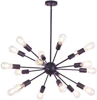 VINLUZ Sputnik Chandelier Oil Rubbed Bronze 18 Light Modern Pendant Lighting Rustic Dining Room Ceiling Light Fixtures UL Listed