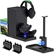 Charging Stand with Cooling Fan for Xbox Series X Console and Controller,Vertical Dual Charger Station Dock Ac