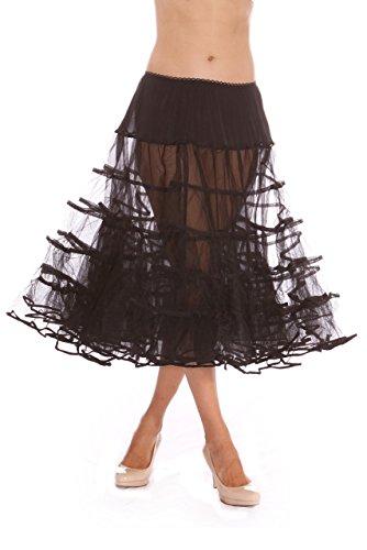 Melonie Tea Length Net Crinoline - for Stiff Structured Support Under Vintage Clothing Rockabilly or Wedding/Formal Dress Black