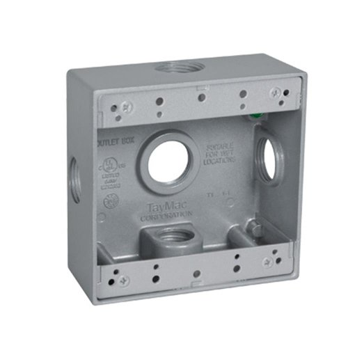 TayMac 2-Gang Weatherproof Box, 5 3/4- Inch Outlets with Side Holes, DB575XS, Gray - Two Gang Weatherproof Box