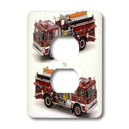 3dRose lsp_527_6 Fire Truck - 2 Plug Outlet Cover