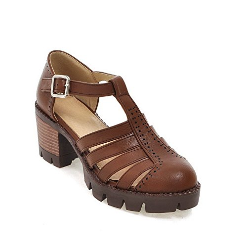 Buckle Brown Women's Closed WeenFashion Material Solid Soft Toe Sandals Kitten Heels FxYq7Zw