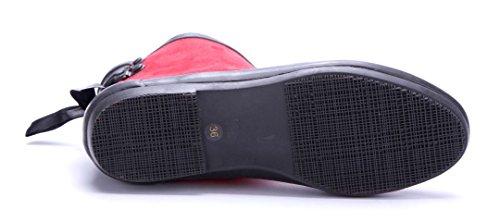Schuhtempel24 Damen Schuhe Flache Stiefeletten Stiefel Boots Flach Zierschleife Rot