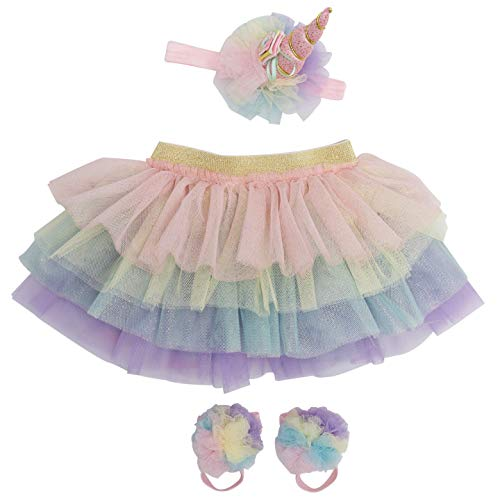 Unicorn Newborn Baby Girl Outfit Tutu Set Skirt Headband Photography Prop for Babies Size: 0-9 Months -