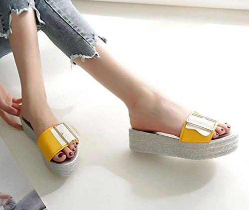 Transpirable elegante 5cm clip 35 pendiente 38 AJUNR Moda de Amarillo ranurado con zapatillas cinturón Sandalias 58xIHEwqT