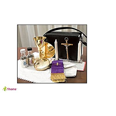 Image of Glassware & Drinkware Mass Kit Includes: Chalice, Paten, Pyx, Crucifix, 2 Glass Bottles, 2 Candles, Stole, Linens Zippered Carrying Case by 1home