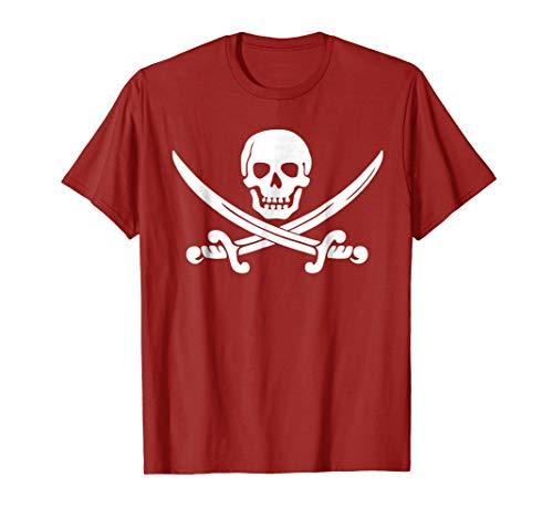 Mens Jolly Roger Pirate Swords Skull Crossbones Costume Shirt 3XL Cranberry