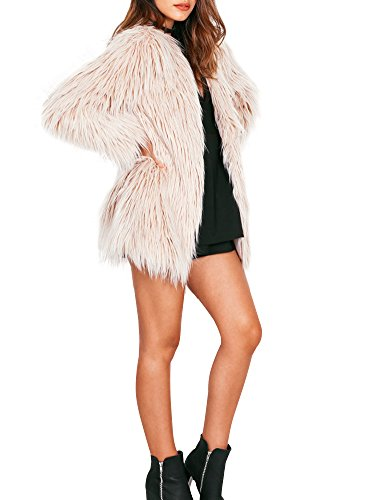 Simplee Apparel Women's Long Sleeve Fluffy Faux Fur Warm Coat,Beige,8