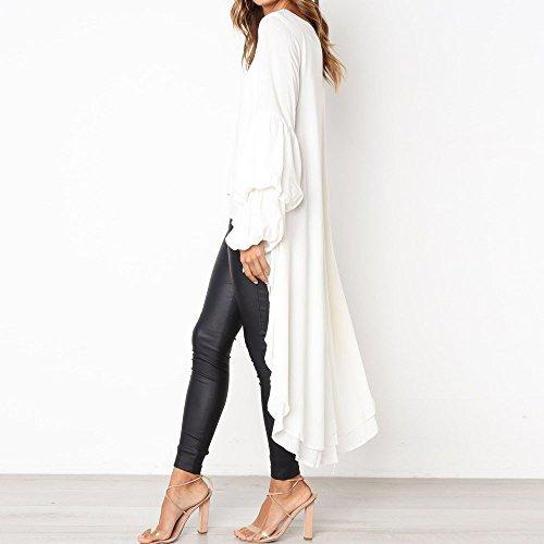 Taglie Donna Blouse Camicetta Bianco A Camicie Balze Elegante Camicia Felpa Casual Girocollo Top Da Tunica Longra Lungo Con Vestito T Manica Lunga Asimmetrico Sciolta shirt Forti qvn5Agw