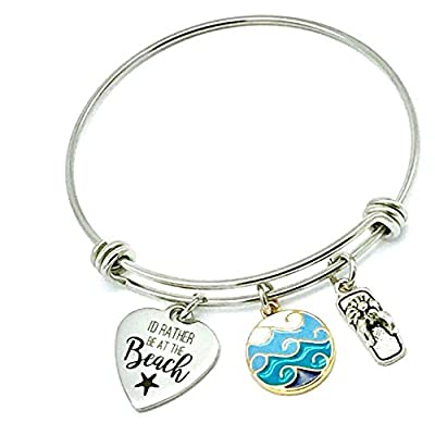 I'd Rather Be at the Beach, Ocean Waves Expandable Bangle Bracelet