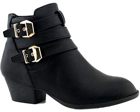 TOP Moda Women's Buckle Straps Stacked Low Heel Ankle Booties Black 10