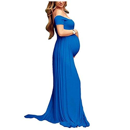 Vestido Larga Sexy Mujer Embarazada Vestido de Maternidad Photoshoot Dress Faldas Fotográficas de maternidad Apoyos De Fotografía Azul