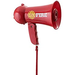 Dress Up America Pretend Play Kids Fire Fighter's Megaphone (Bullhorn) with Siren Sound. Handheld Mic Toy