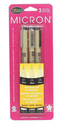Sakura 30061 3-Piece Pigma Micron Blister Card Ink Pen Set, Black