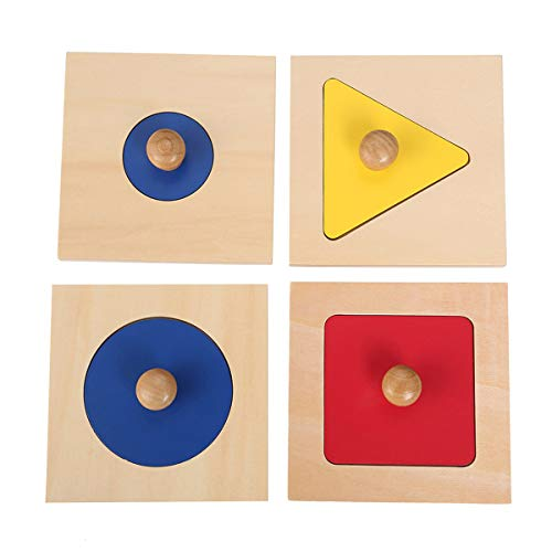 Triangle Knob Puzzle - XIHAToy Montessori Material 4 Single Color Shape Inset Puzzle Wooden Triangle Circle Knob Math Puzzle Kids Shape Sorter Wood Learning Toys for Preschool Home Parenting Teaching Infants Toddlers