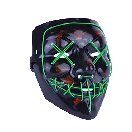 Kimkoala LED Light Cosplay Mask Halloween Frightening EL Light Up Luminous Glow Masks for Festival Dance Parties Costume