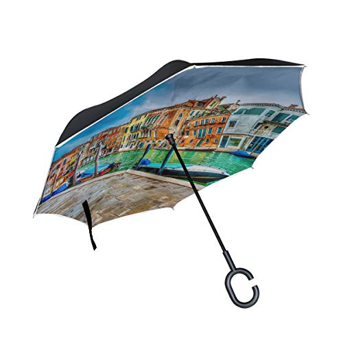 (KUneh Double Layer Inverted Beautiful View Canal Venice Italy HDR Umbrellas Reverse Folding Umbrella Windproof Uv Protection Big Straight Umbrella for Car Rain Outdoor with C-Shaped Handle)