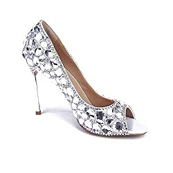 Pearl Rhinestone High Heels With Crystals