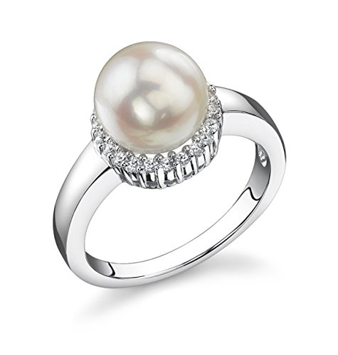 THE PEARL SOURCE 8-8.5mm Genuine White Japanese Akoya Saltwater Cultured Pearl Ashley Ring for Women ()
