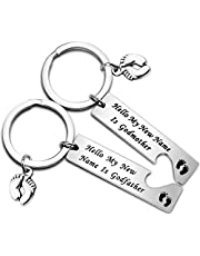 BEKECH Godparents Proposal Gift Baby Shower New Godparents Gift Hello My New Name is Godmother Godfather Keychain Set