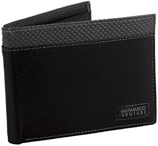 Wallet man GIANMARCO VENTURI black in leather portacredit cards with flap A5709
