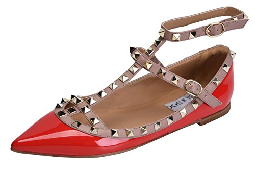 Women's Shoes Comfortable Flats PU red Buckle Strappy Patant Pumps Studs Metal Toe Pointy CAMSSOO Dress aPwdqa