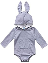84dba34feddc Baby Girl Boy Clothes Top Hoodie Pocket Bodysuit Romper Long Sleeves Outfit  Clothing