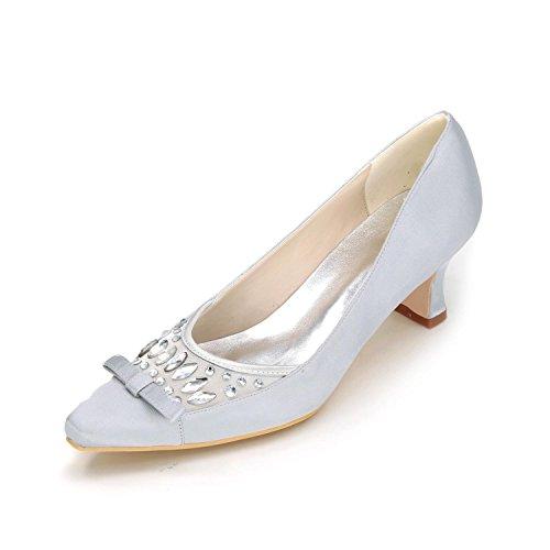 L@YC Frauen High Heels Frühling Sommer Herbst Winter Platform Satin Hochzeit & Abend Fine Heel Plattform Silver
