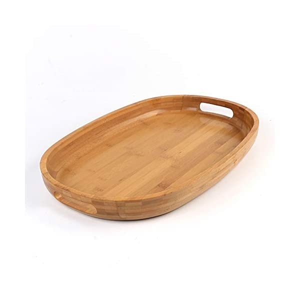 Swell Bamboo Wood Serving Tray With Handles Rustic Breakfast Tray Ottoman Tray Decorative Oval Butler Tray For Food Coffee And Tea 17H X 11 75W X 2H Dailytribune Chair Design For Home Dailytribuneorg