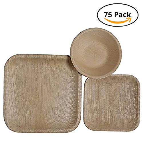 CaterEco Square Palm Leaf Plates Set (75 Pack) | (25) Dinner Plates, (25) Salad Plates and (25) Bowls | Ecofriendly Disposable Dinnerware | Heavy Duty Biodegradable Party Utensils