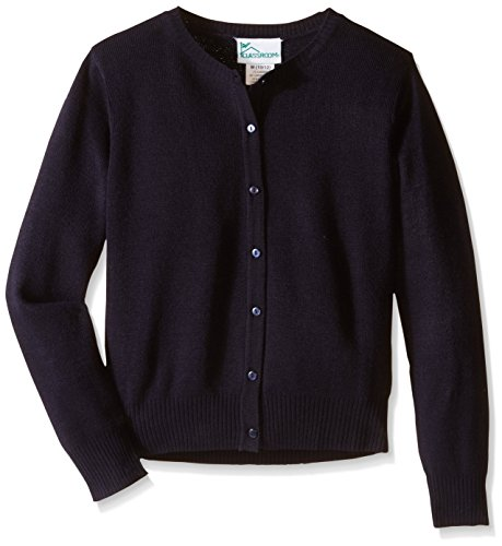 CLASSROOM Big Girls'  Jewel Neck Cardigan, Dark Navy, Medium