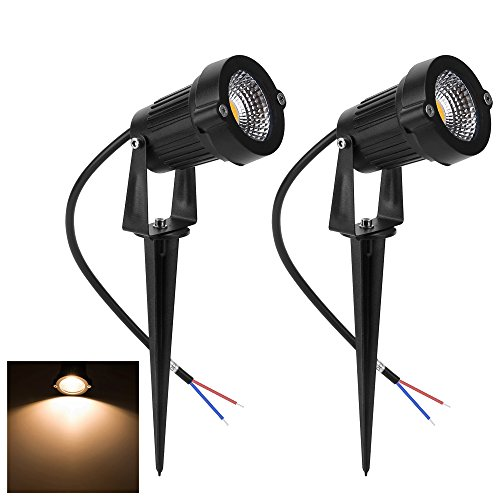 - Familite Outdoor Waterproof Decorative Spotlight-6W COB LED Landscape Path Light AC/DC 12V with Spiked Stand, Pack of 2 (Warm White 2600-2800K)
