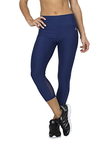 RBX Active womens Body Contouring High Waisted Crop Capri Compression Leggings,Navy,Medium (Mustache Pantyhose)