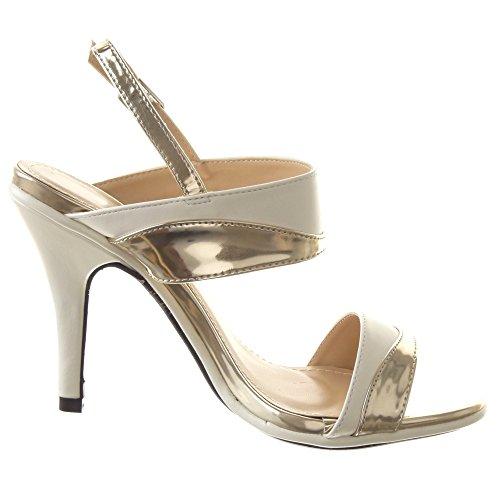 de Blanco CM alto Caña baja escarpín Moda plataforma Sandalias Tacón Tacón aguja 10 Talón mujer Sopily Stiletto de de Zapatillas Zapatillas RHBw55
