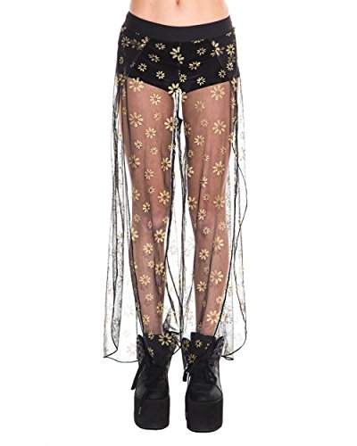 iHeartRaves Black Sheer Shimmering Daisy Side Slit Pants (Small)