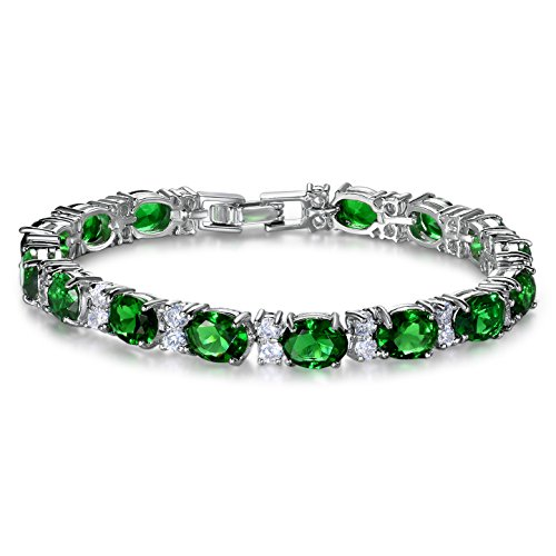 SELOVO Formal Bracelet Tennis Chain Green Oval Emerald Color Cubic Zirconia Silver Tone 7 Inch