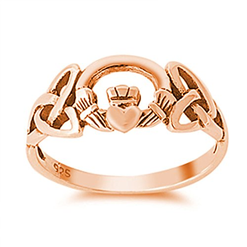 925 Sterling Silver Claddagh Ring Plain Rose Gold Rhodium Plated Celtic Knot