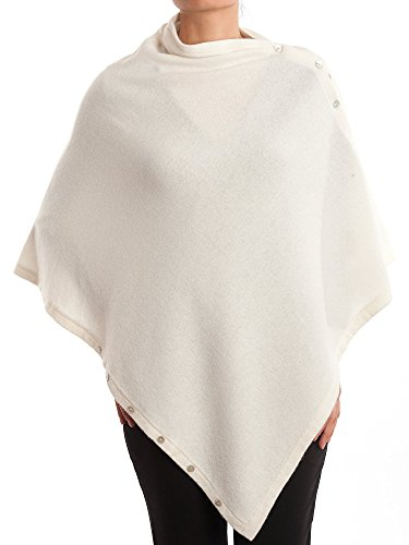 DALLE PIANE CASHMERE - Poncho with Buttons Cashmere Blended Yarns - Made in Italy, Color: White, One Size