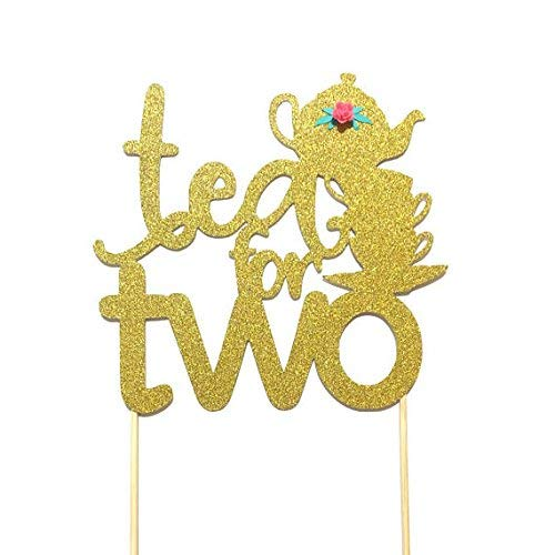 Amazon 1 Pctea For Two Flower Gold Glitter Cake Topper