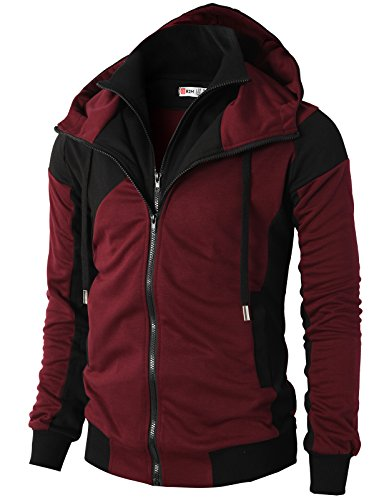 H2H Mens Hoodie Zip-Up Double Zipper Closer With Two Tone Color WINE US M/Asia L (KMOHOL076)