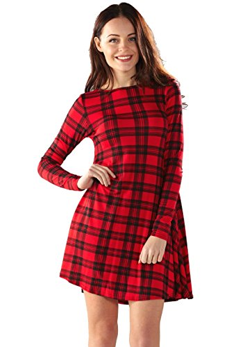 Dress Swing Red Sleeve Women Girls Long Neck Crazy Flared Scoop amp Mini Tartan Black s qg8wv