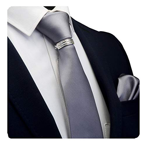 GUSLESON Brand Charcoal Solid Gray Business Ties Neckties and Pocket Square Clasp Pin Sets For Men - Necktie Men Accessories