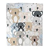 Emvency Throw Blanket Warm Cozy Print Flannel Vintage Cute Koala Bear Blue Grey Pastel Baby Teddy Cartoon Animal Pattern Comfortable Soft for Bed Sofa and Couch 50x60 Inches